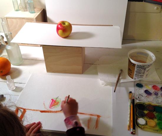 apple-still life-child-painting