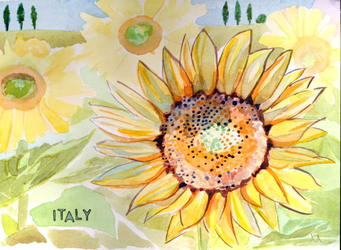 watercolor-Bronstein-Celebrity-cruise-italy