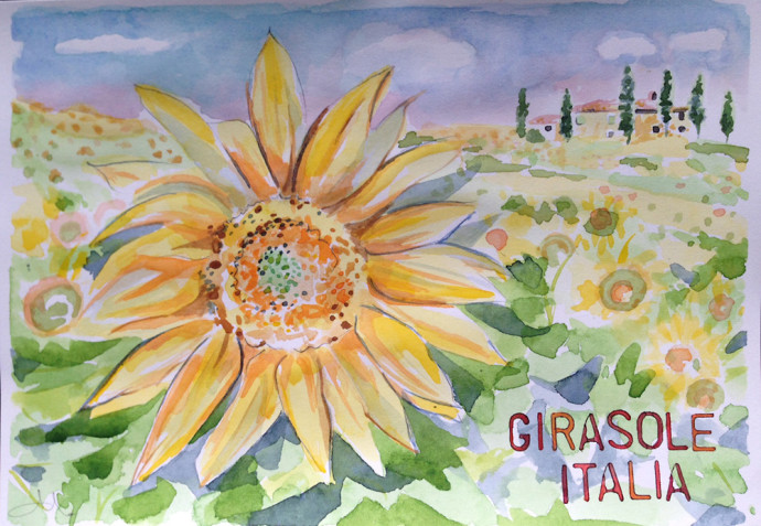 watercolor-M.J.Bronstein-Celebrity-Cruise-italy