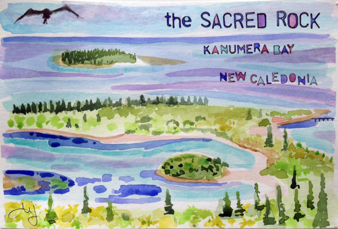 kanumera-bay-sacred-rock-bronstein-watercolor